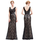 Vintage Long Sequin Mermaid Evening Gown Prom Party Formal Bridesmaid Lace Dress