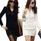 bodycon Vintage One Piece Career Long Sleeve Womens ladies Shirt Dress Size
