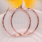 18K Yellow/Rose/White Gold Filled 45mm Medium-Size Twisted Hoop Earrings HG8