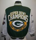 GREEN BAY PACKERS 4 Time Super Bowl CHAMPIONSHIP Twill Jacket Sewn Logos MED LG on eBay