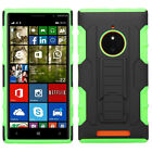 AT&T Nokia Lumia 830 HYBRID KICKSTAND Rubber Case Phone Cover + Screen Protector