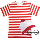 Mens Red White Striped Costume Outfit Fancy Dress Book Week TSHIRT HAT & GLASSES
