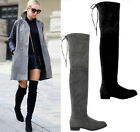 Women Lady Over the Knee Thigh Faux Suede Flat Heel High Boots Stretched Shoes