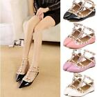 2017 New Womens T-strap Studded Rivet Metal Flats Pointed Toe Shoes Party Shoes