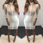 Women's Bandage Stripe Bodycon Evening Cocktail Party Long Sleeve Pencil Dress