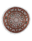 Indian Handmade Floral Cotton Mandala Tapestry Brown Lace Work Wall Hanging