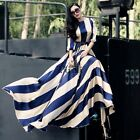 Women Striped Boho Long Maxi Dress Evening Party Beach Sundress Top Summer TXCL