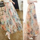 Women Chiffon Floral Print Pleated Retro Maxi Long Skirt Elastic WaistBand TXCL