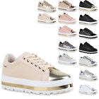 Damen Plateau Sneaker Metallic Cap Sneakers Lack Schuhe 815358 New Look