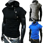 Fashion Young Men's Pure Color Hoodie T-Shirt Short Sleeve Casual T Shirts New