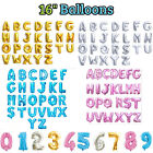 """Foil Letter & Number Balloons 16"""" Alphabet A-Z GOLD, SILVER, PINK, BLUE Birthday"""