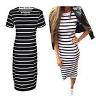 Fashion Women Casual Slim Striped Pullover Short Sleeve Tunic Shift Dress h7