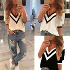 Fashion Women's Soft V-neck T-Shirt 3/4 Sleeve Chiffon Casual Loose Tops Blouse