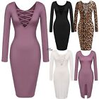 Frauen Lady Casual Long Sleeve hohe Taille Sexy Bodycon solide Festkleid JTOO