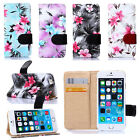 Floral Vintage Reto Flower Flip Leather Card Slot Wallet Stand Case For Phone