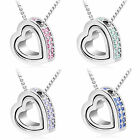 5Styles Pendant Heart Rhinestone Lady Charm Crystal Light Silver Necklace+Chain