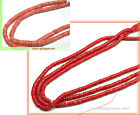 16in. Long Sea Bamboo Coral 4mm Heishi Beads Pink or Red