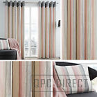 Pair of Striped 100% Cotton Eyelet Ring Top Lined Curtains, Blush Pink and Grey