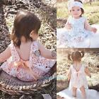 2PCS Baby Toddler Girl Lace Flower Tops+Bottoms Briefs Outfits Clothes Set 0-24M