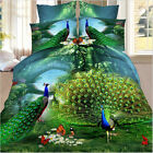 Sale 3D Duvet Cover 2 Pillowcase Quilt Cover Bed Set Singl Queen King Peacock