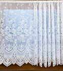 WHITE LACE NET CURTAINS VICTORIA 606 HEAVY BORDER WITH FLOWERS ALL SIZES