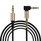 3.3FT 3.5mm Jack Audio Cable Male To Male Right Angle Spring Aux Cable Cord UK