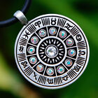 Wheel of Zodiac Astrology Horoscope W AB Crystal Aurora Borealis pewter pendant