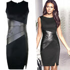 Women Leather Knee Long Dress Slim Fashion Bodycon Party Work Cocktail Evening