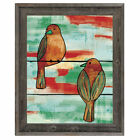 Click Wall Art 'Two Wire Birds Omega' Framed Painting Print