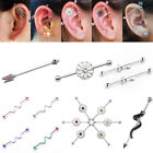 New 14G Steel Twist Long Industrial Bar Barbell Cartilage Ear Stud Body Piercing