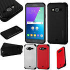For Samsung Galaxy Express Prime Mat Weave Hybrid Dual Layered Case Phone Cover