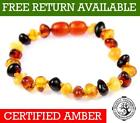 100% Genuine Baltic Baby to Adult Amber MIX Anklet / Bracelet Knotted UK 11-27CM
