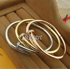 18K Yellow/Rose/White Gold Filled Nail Shaped Crystal Open Bangle Bracelet HH1