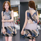 New ! Women Summer Korean Fashion Printed Wide Songou Organza Sleeveless Dress