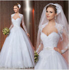 Ivory White Wedding dress A line Bridal Gown&lace long sleeve jacket custom size