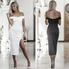 Women Plus Size Midi Lady Plain Off Shoulder Summer Bodycon Long Sleeve Dress K
