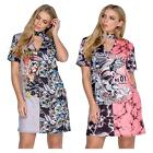Womens Choker Neck Mix Skull American Rocker Print Longline Party Mini Dress