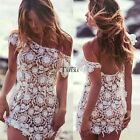 Women Fashion Sexy Short Sleeve Low Back Crochet Floral Lace Hollow Beach TXCL01