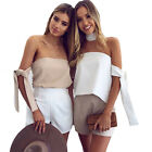 New Women Strapless Tee Top T-shirt Sleeveless Halter Neck Loose Shirts Outwear