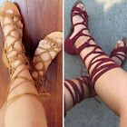 Women's Summer Gladiator Knee High Leg Wrap Lace Up Flat Sandals Boots Shoes New