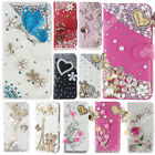 Silver Bling Diamond PU Flip Leather Card Wallet Case Fitted Phone Cover For LG