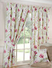 Red Multi Floral Print Tape Top Ready Made Curtains on Cotton Half Panama Fabric