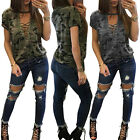 Women Ladies  Summer Loose V-neck Casual Chiffon Short Sleeve Shirt Tops Blouse