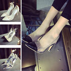 Summer Womens Pumns Clear Stiletto Slip On High Heels Pointed Toe Shoes Size