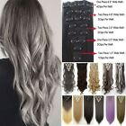 "Deluxe New 17""23""24""26"" 8 Piece Clip in Hair Extensions Full Head Human Tape Tn2"