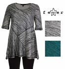Fever Womens Flowy Crew Neck 3/4 Sleeve Knit Sweater Top Asymmetrical Blouse