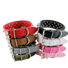 Pet Collar Solid 2inch Wide Large Dog Collar Leather Rivet Studded XS S M L