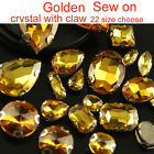 Gold Sew On Crystal Faceted glass flatback oval/teardro​p Rhinestone Jewels Gems
