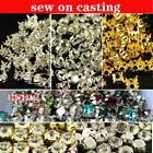 144  Faceted Glass crystal round/rivoli gold/silver claw Setting Sew On 4/5/6/8m