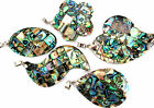 GORGEOUS MOTHER OF PEARL ABALONE NECKLACE PENDANTS ON SILVER CHAIN